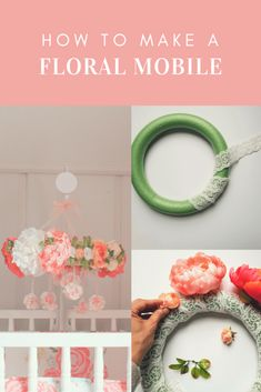 Early mobiles did not necessarily move, as do most crib mobiles today. The modern crib mobile is… Diy Nursery Decor, Baby Decor, Nursery Ideas, Project Nursery, Room Decor, Flower Mobile, Diy Crib, Floral Nursery, Diy For Girls
