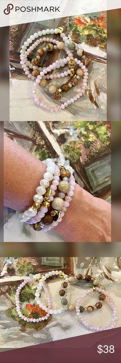 Set of four blush tone Erimish bracelets One wood grain 2 blush and one sparkling white with gold logo tags Erimish Jewelry Bracelets