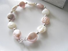 White & Pink Cultured Freshwater Pearl by weddingswithflair, $35.00