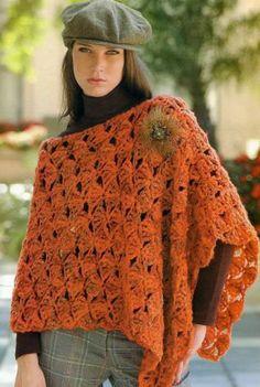 Patrones Crochet: Poncho Otonal Crochet-Tricon Patron Más