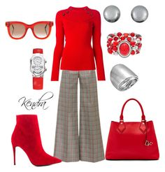 """Red & Gray In The Office"" by k1974johnson1117 ❤ liked on Polyvore featuring Mary Katrantzou, Isabel Marant, ALDO, Sonoma life + style, Diane Von Furstenberg, Philip Stein, Kenneth Jay Lane, Vince Camuto and Thierry Lasry"