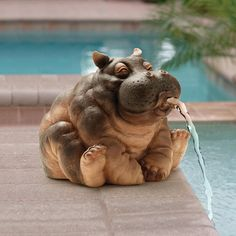 Hanna The Hippo Spitter Piped Statue : Patio, Lawn & Garden