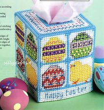 Plastic Canvas - Happy Easter Tissue Topper - Pattern - NEW Plastic Canvas Ornaments, Plastic Canvas Tissue Boxes, Plastic Canvas Christmas, Plastic Canvas Crafts, Plastic Canvas Patterns, Box Spring Cover, Christmas Toilet Paper, Box Patterns, Stitch Patterns