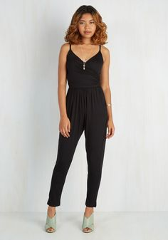 Slicker Than Your Average Jumpsuit - Better, Black, Jumpsuit, Knit, Black, Solid, Pockets, Casual, 90s, Ankle, Vintage Inspired, Spaghetti Straps