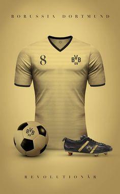 Top 20 des superbes maillots de foot vintage, imaginés par Emilio Sansolini - Borussia Dortmund