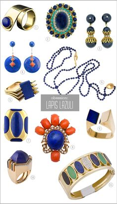 love the architectural lapis + metal combos