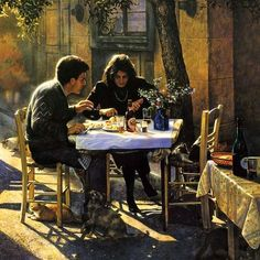 This couple, dining at a sidewalk cafe in Athens, Greece - painting Greg Olsen