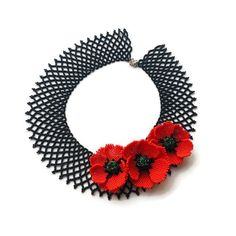 Black beaded collar with red poppy flower Seed bead lace evening necklace Gift for women Gorgeous Victorian necklace Charm womens girls gift - Beaded Collar, Beaded Lace, Beaded Flowers, Bead Jewellery, Seed Bead Jewelry, Seed Beads, Poppy Flower Seeds, Beaded Jewelry Patterns, Red Poppies