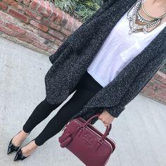 Gray black drape cardigan, Black ponte ankle pants, black bow pumps, grendel bib necklace, burgundy tote