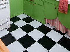 Kitchen Design Tips From HGTV Stars : Vinyl peel & stick tiles reinforce the vintage feel.