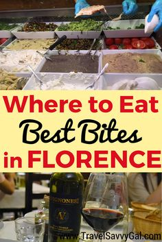 Specific restaurant recommendations of where you can eat and drink best when you travel in Florence.  Includes where to have gelato & enjoy an aperitivo!  ✈✈✈ Don't miss your chance to win a Free Roundtrip Ticket to Florence, Italy from anywhere in the world **GIVEAWAY** ✈✈✈ https://thedecisionmoment.com/free-roundtrip-tickets-to-europe-italy-florence/