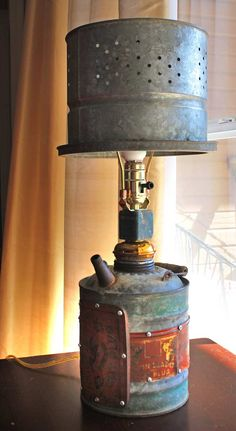 3 Upcycled Lamp with Vintage Galvanized Gas by GadgetSponge - Easy Diy Home Decor Rustic Lighting, Industrial Lighting, Cool Lighting, Pipe Lighting, Industrial Table, Lampe Steampunk, Steampunk Diy, Steampunk Clothing, Renaissance Clothing