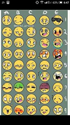 Emoji Challenge by ShinySmeargle Facial Expressions Drawing, Anime Faces Expressions, Cartoon Expression, Drawing Challenge, Art Challenge, Emoji Challenge, Body Drawing, Drawing Base, Easy Anime Eyes