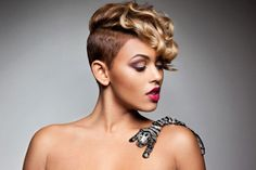 Short half shaved hairstyles for black women