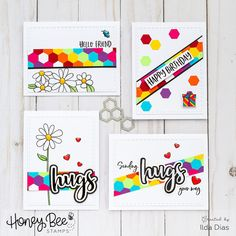 Honey Bee Stamps Cheerful Card Set - Using Hexagon Scraps by ilovedoingallthingscrafty Spectrum Noir Markers, Honey Bee Stamps, Bee Cards, Sending Hugs, Inked Shop, Pretty Cards, Card Maker, Ink Pads, Over The Rainbow