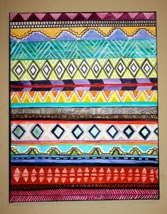 Patterned Aztec Paintings by averycampbellART on Etsy, $20.00