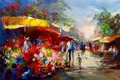 Landscape Paintings, Watercolor Paintings, Z Arts, Post Impressionism, Flower Market, Elements Of Art, City Art, Art Drawings, Street Art