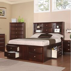 Awesome Bookcase Headboard Captains Bed Queen With 8 Drawer