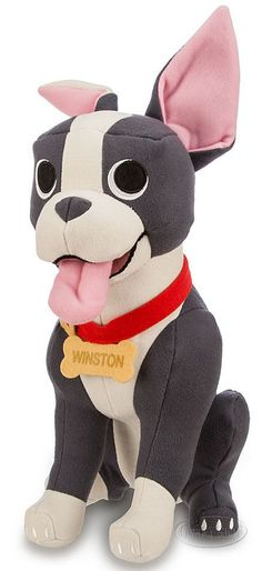 Disney Store Feast Winston the Boston Terrier Dog Large Stuffed Plush Doll NEW #Disney