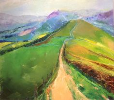Lose Hill Ridge, Derbyshire Peak District landscape painting in oil 20x22cm Sally Matterson Limited Giclee prints available.