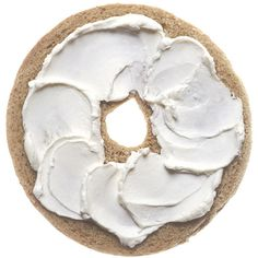 bagel with cream cheese large -... ❤ liked on Polyvore featuring food, fillers, food and drink, food & drinks, white, backgrounds, embellishments, round, circular and circle