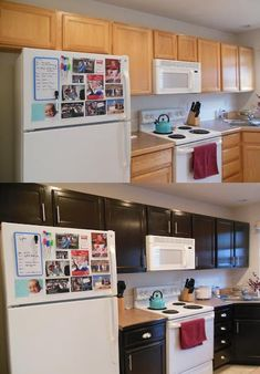 """Gel Stained Kitchen Cabinets anyone who thinks they """"shouldn't"""" paint wood should look at this. Kitchen Redo, New Kitchen, Kitchen Remodel, Kitchen Ideas, Staining Oak Cabinets, Stained Kitchen Cabinets, Kitchen Cupboards, Furniture Makeover, Cabin Furniture"""