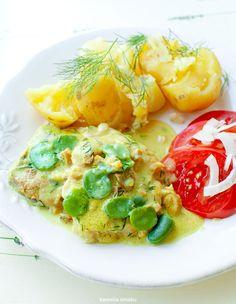 Schab gotowany w sosie z bobem i koperkiem