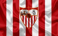 Download wallpapers Sevilla FC, professional football club, Sevilla emblem, logo, La Liga, Sevilla, Spain, LFP, Spanish Football Championships