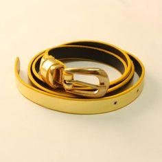 Yellow & Gold Skinny Belt Skinny Belt, Yellow, Gold, Accessories, Ornament
