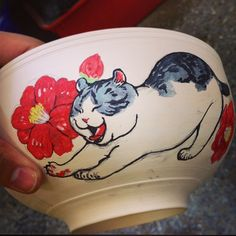 Cat,cats,sleepy cat on the bowl,flowers,draw