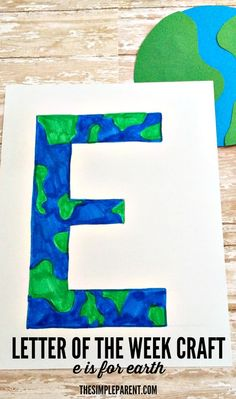 Letter of the Week Craft E is for Earth is part of Kids Crafts January Letters My kids love learning all about things like our neighborhood and the world around us Weston knows the names of almost - Letter E Craft, Preschool Letter Crafts, Alphabet Letter Crafts, Kindergarten Crafts, Preschool Crafts, Crafts For Kids, Letter Tracing, Planets Preschool, Space Preschool