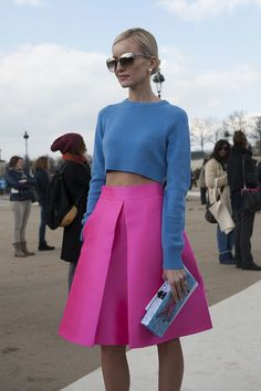 Go bright in a lavender crop top and hot pink full skirt