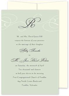 PBA-GBT-CENS Grayed Jade Monogram wedding invitation