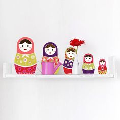 russian dolls colour wall sticker set by spin collective | notonthehighstreet.com
