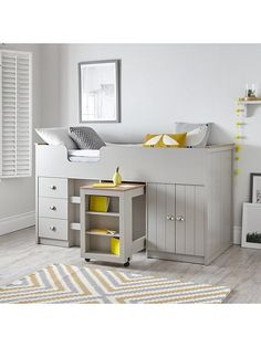 Cabin Bed With Desk, Cabin Bed With Storage, Single Beds With Storage, Under Bed Storage, Desk Storage, Desk Under Bed, Mid Sleeper With Storage, Mid Sleeper Bed, Midi Bed