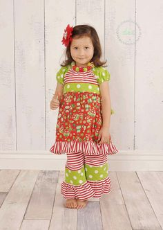 Owl Christmas Holiday Peasant Dress and Ruffled Pants Sizes 3 months - 7 yrs Little 4 Awhile