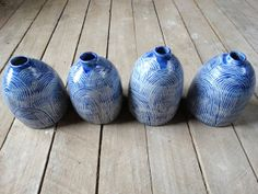 Blue Ceramic Bottle Vase