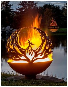 Phoenix Rising Fire Pit Sphere 02 - The Fire Pit Gallery Fire Pit Sphere, Metal Fire Pit, Wood Burning Fire Pit, Diy Fire Pit, Fire Pit Backyard, Outdoor Fire Pits, Fire Pit Art, Backyard Bbq, Fire Pit Gallery
