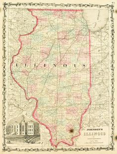 Johnson's Illinois Compiled Drawn Engraved by J H Colton & A J Johnson Note: Despite being advertised at steel engravings the maps in Johnson's Family Atlas were in fact hand colored stone lithographs