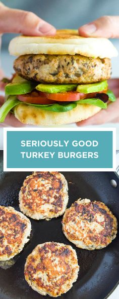 How to make tasty healthy and juicy turkey burgers! Thanks to our secret ingredient these burgers are loaded with umami and wont dry out. Homemade Turkey Burgers, Ground Turkey Burgers, Turkey Burger Recipes, Ground Turkey Recipes, Chicken Recipes, Healthy Turkey Burgers, Cooking Turkey Burgers, Turkey Burger Sliders, Ground Turkey Meal Prep