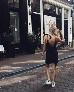 black sundress + adidas sneakers / sporty chic summer style