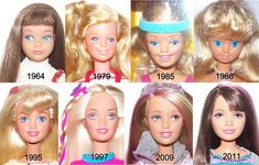 Got a little Barbie fan at home? Barbie has changed over the years from her debut in 1953 until today in Barbie is not only loved by kids but also adults. Read to know about Barbie then & now. Vintage Barbie, Vintage Dolls, Barbie E Ken, Barbie Skipper, Face Mold, Barbie Sisters, Baby Sister, Barbie Collector, Barbie World