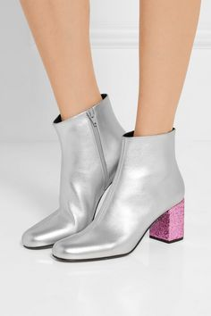 silver babies metallic leather ankle boots