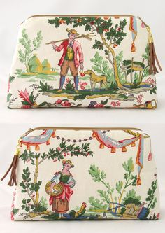 cosmetic pouch toile de jouy with beige leather tassel handmade colorful make up bag 13x20 cm vichycheck lining giftidea