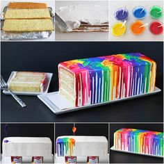 How to DIY Creative Melted Rainbow Cake