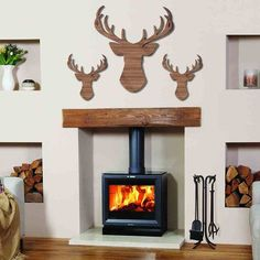 Oak Effect Modern Stags Head Wall Art