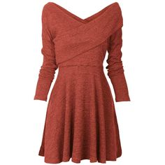 Womens Long Sleeve Knitted Sweater Pullover Swing Solid Slim Fit Wrap... (€26) ❤ liked on Polyvore featuring dresses, long sleeve wrap dress, long sleeve day dresses, long-sleeve midi dresses, wrap dress and slimming red dress