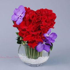 Sonny Alexander Flowers, heart shaped flower arrangement, heart flowers, red valentines day centerpiece, roses and vanda orchids