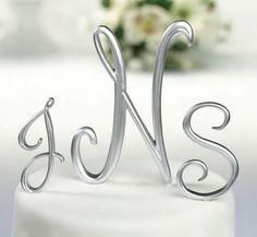 Silver Script Monogram Cake Topper by Beau-coup Letter Cake Toppers, Monogram Cake Toppers, Wedding Cake Toppers, Wedding Cakes, Wedding Favors, Diy Wedding Supplies, Wedding Supplies Wholesale, Silver Cake, Trendy Wedding