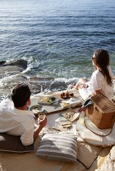 "Picnic by the sea. I've never had a romantic picnic with anyone because it was on ""The List"", but this would be perfect for us as I remember us eating on the beach together. Picnic Time, Summer Picnic, Summer Fun, Beach Picnic, Picnic Parties, Fresco, Week End En Amoureux, Beach Please, Relax"